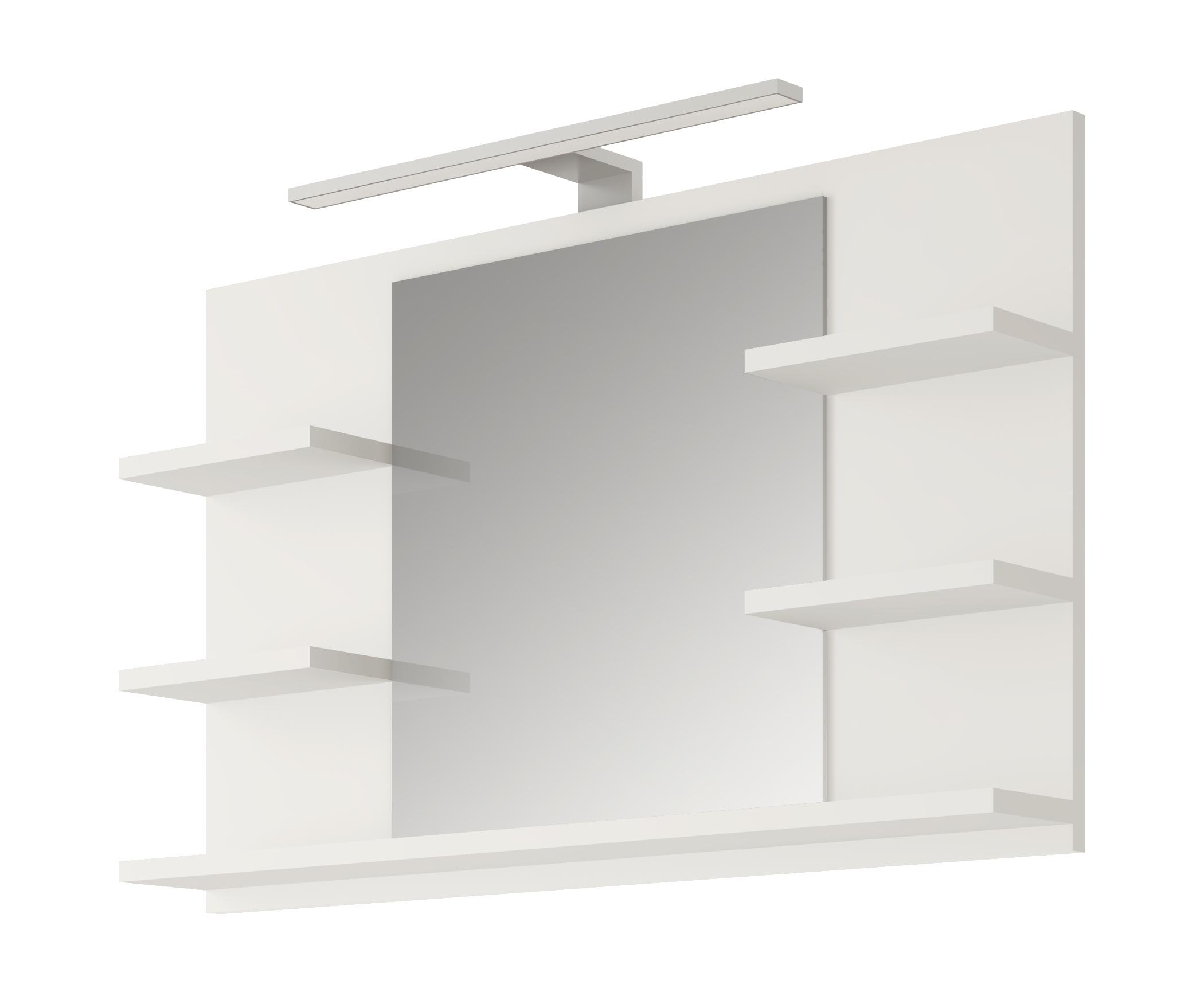 Lustro Białe Z 5 Półkami I Lampą Led